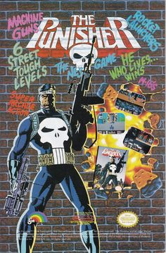 Buttered Pop Culture - Ad for the Punisher Nintendo game Classic Video Games, Retro Video Games, Video Game Art, Marvel Comics Superheroes, Marvel Comic Books, Spirit Of Vengeance, Sal Buscema, Spectacular Spider Man, Todd Mcfarlane