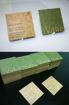 Unique rustic and green design printed on oilboard for Virtus Creative Group. Professional Business Card Design, New Business Ideas, Unique Business Cards, Business Card Logo, Business Marketing, Promotion Card, Print Design, Graphic Design, Design Inspiration