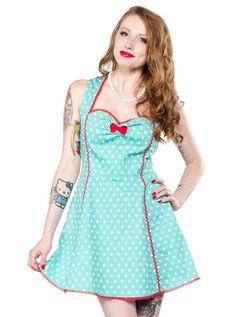 "Women's ""Polka Dot"" Lucille Dress by Sourpuss Clothing (Mint) #inkedshop #blue #polkadot #redbow #vixen"