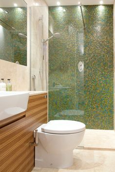 71 Inspiring Green Bathroom Design Ideas: 71 Inspiring Green Bathroom Design Ideas With White Modern Toilet And Glass Shower Box And Ceramic Tile Wall And Wooden Washbasin And Wall Mirror And Lamp Green Bathrooms Designs, Tiny Bathrooms, Bathroom Designs, Bathroom Colors, Tankless Toilet, Cool Toilets, Over Toilet Storage, Hidden Toilet, Glamorous Bathroom