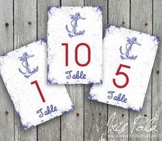 PRINTABLE Nautical Wedding 115 table numbers. by IrisPola on Etsy, $14.00