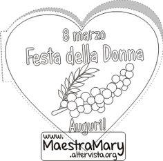 biglietto festa della donna Creative Crafts, Crafts For Kids, Clip Art, Valentino, Ladies Day, Dates, Winter, March, Craft