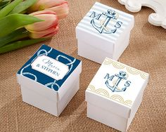Nautical Themed Personalized Square Favor Boxes (Set of 24) (Kate Aspen 28198NA) | Buy at Wedding Favors Unlimited (http://www.weddingfavorsunlimited.com/nautical_themed_personalized_square_favor_boxes_set_of_24.html).