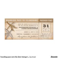 boarding pass save the date vintage tickets 4x9.25 paper invitation card