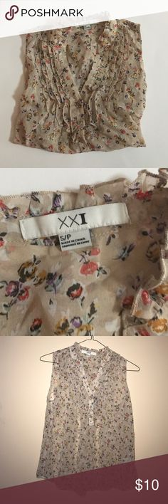 Forever 21 Top Gently worn, good condition. Sheer floral Tank. Ruffle detailing. Button down front. Forever 21 Tops Blouses