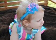 Headband Sandal Set NEON BLUE and PINK Barefoot Sandals and Baby Headband Set Summer Sandals Photo Prop Newborn Photo Toddler Bow Set Flower