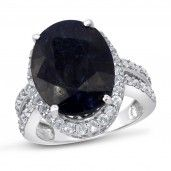 Royal Jewels Collection, Natural Faceted Sapphire Sterling Silver Ring