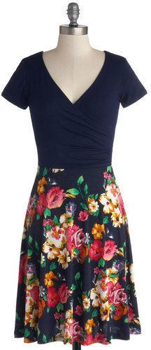 Plus Size Dress in Navy Blossoms