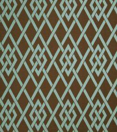 Upholstery Fabric-Eaton Square Sherry   Teal Lattice