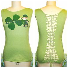 Patricks Day Weaved Cutup Tshirt // Refashioned Cut T-shirt // Size Medium Cut Up Shirts, Tight Shirts, Diy Clothes, Cute Outfits, Chic, Trending Outfits, Tees, How To Wear, Shirt Ideas