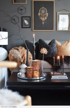 room decor Feeling very by this black, gray and gold Great design an. Feeling very by this black, gray and gold Great design and for the season. Home Living Room, Interior Design Living Room, Living Room Designs, Copper Living Room Decor, Interior Design Candles, Living Room Candles, Design Interiors, Living Room Inspiration, Home Decor Inspiration