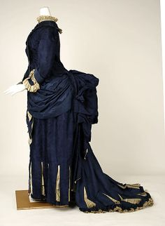 Dress, 1881-85, American. Side view. Wow that bustle is big.