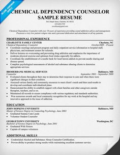 resume examples chemical dependency counselor http resumecompanion