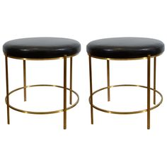 Jacques Quinet Round Benches  France  1950's  Round benches by Jacques Quinet in bronze and leather. Very fine construction with elegant proportions, the benches are both delicate and strong. Tops can be re-upholstered with client's own material.