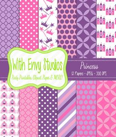 SALE 50% OFF Princess Scrapbook Paper - Princess Digital Paper - Princess Paper Pack - Pink Paper - Purple Paper - Commercial Use