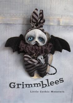 AdLib the Grimmblee - a one of a kind creepy-cute Gothic little monster Soft Sculpture, Sculptures, Big Blue Eyes, Broody, Clay Faces, Creepy Cute, Black Felt, Little Monsters, Cute Creatures