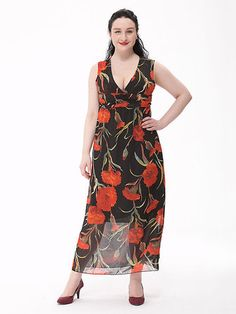 Sexy Women V Neck Flower Printing Bohemian Chiffon Maxi Dress