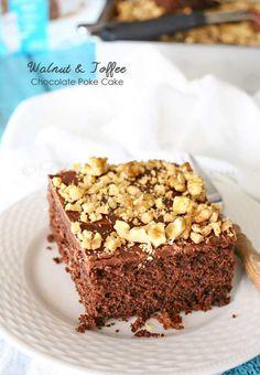 Walnut & Toffee Chocolate Poke Cake