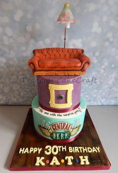 Friends cake :) Chocolate bottom tier, Vanilla top tier, RKT sofa & working lamp