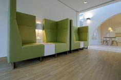 Hospital interior design, living room with plastered wall lights of Floss. Healing Environment. Psychiatry Unit Radboudumc. Interior design Suzanne Holtz Studio