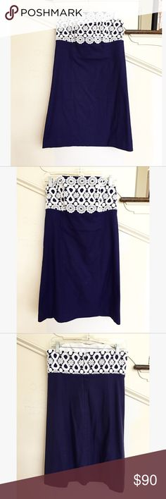 Lilly Pulitzer Navy Blue White Lace Overlay Dress Lilly Pulitzer Bowen Navy Blue Lace Overlay Cotton Strapless dress. Excellent condition! Worn once! Size 10. Lilly Pulitzer Dresses Strapless