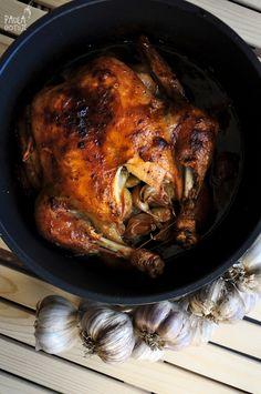 chicken garlic Garlic, Turkey, Chicken, Meat, Food, Whole Baked Chicken, Cloves Of Garlic, Turkey Country, Essen