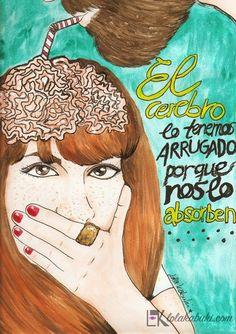 EL CEREBRO LO TENEMOS ARRUGADO PORQUE NOS LO ABSORBEN  #lettering #art #watercolors