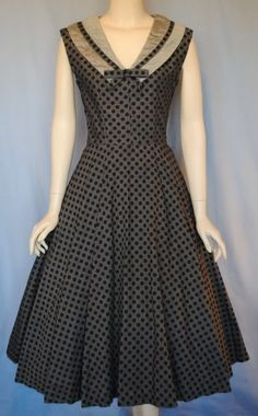 Vintage 50s Polka Dot Full Skirt Dress with Sailor Collar from VIVIAN BELLE VINTAGE