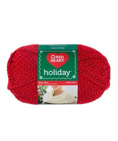 Red Heart Holiday Yarn - Use this yarn for all of your holiday projects – accessories, home dec, throws, and more. It has a coordinating or contrasting metallic thread wrapped around it, for a hint of shine.