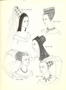 York (1460-1485): Butterfly and Hennin  Hennin- eventually the horns became so tall and vertical they merged into one tall horn. In England, the cone had a flat top and would not exceed a height of nine inches. Compared to the 2-3 feet of Continental styles, this was modest. Transparent veils were attached to the top, or draped, sometimes to the ground.  Butterfly- consisted of a cap which resembled an inverted flowerpot, set at an angle orginally resembling the hennin, and then eventually be...