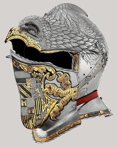 Desiderius Helmschmid, German, documented 1513–1579, Helmet of Emperor Charles V, Augsburg, c. 1540, Embossed, etched, and gilt steel, Patrimonio Nacional, Real Armería, Madrid