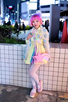 Here's Kumamiki on the street in #Harajuku tonight during #Shibuya #Fashion #Fest. She was wearing a #kawaii outfit with items from #Angelic Pretty, SPANK! #tokyofashion #cuteness #streetsnaps #pastel #colors #Japan #Japanese