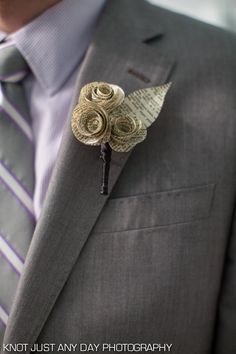 Paper flower boutonniere made from vintage book pages by Regular Frills / Library Lovers Storybook Wedding, Wedding Book, Wedding Paper, Diy Wedding, Dream Wedding, Origami Wedding, Wedding Ideas, Trendy Wedding, Wedding Bouquets