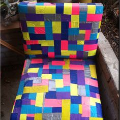 Patchwork duct-tape chair.