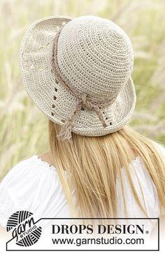 Crochet DROPS hat with lace pattern in Bomull-Lin or Paris. Free crochet pattern by DROPS Design. Hand Crochet, Free Crochet, Knit Crochet, Crochet Hats, Knit Cowl, Crochet Granny, Bandeau Crochet, Bikinis Crochet, Drops Design