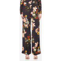 Gestuz Women's Cally Floral Print Wide Leg Trousers - Multi Colour Flower - EU 34/UK 6 - Multi