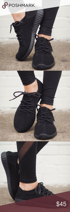 🆕Black on Black Mesh Sneakers High quality, breathable, and comfortable black on black lace up sneakers. clmayfae Shoes Sneakers