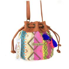Hoxis Totem Canvas Drawstring MINI Bucket Shoulder Bag Satchel (Stripes)