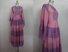 vintage 1960s dress / 60s boho maxi dress / 60s ethnic dress / silk caftan dress / sz m med medium L large