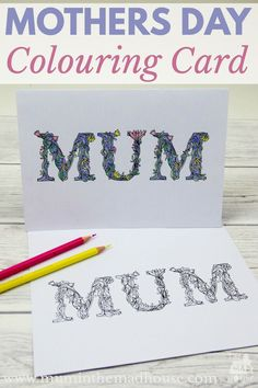 Free Mothers Day Colouring Cards