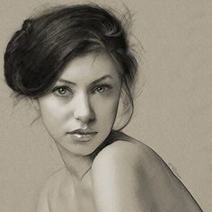 Art by Yuri Ratush Portrait Sketches, Pencil Portrait, Female Portrait, Portrait Art, Art Sketches, Woman Portrait, Beautiful Pencil Drawings, Amazing Drawings, Cool Drawings