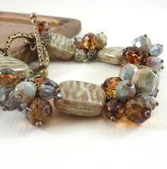 Green & Brown Bracelet Muted Colors by RockStoneTreasures on Etsy, $46.00