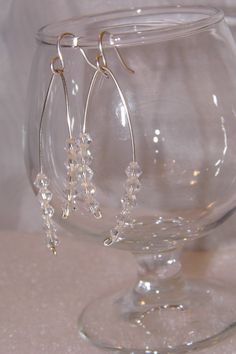 white Crystal and Silver earrings by TheEccentricBead on Etsy