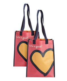 Another great find on #zulily! Small Recycled Heart Tote - Set of Two by Life is good® #zulilyfinds