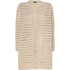 AKRIS Beige Open Knit Buttonless Cotton Cardigan ($2,450) ❤ liked on Polyvore