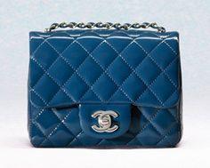 Chanel Navy Blue Patent Classic Flap Square Mini Bag (Cruise 2013)
