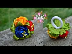 Цветы Канзаши Мастер класс Flowers Kanzashi masterclass Резинка для воло...