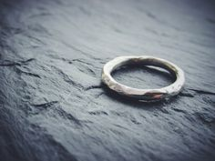 // Rugged \\ Organic textured sterling silver handmade wedding band stacking ring by Erica Freestone