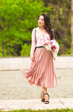cute & little | dallas petite fashion blog | monochromatic pink | pink sweater, pink pleated skirt | spring outfit