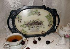 """Купить Поднос """"Ежевичный чай"""" - тёмно-синий, поднос, поднос для кухни, поднос декупаж"""